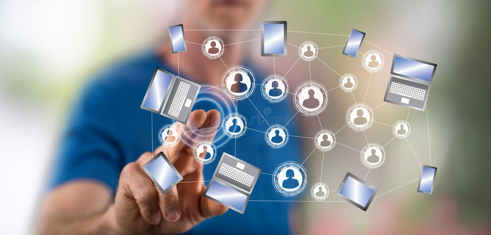 Man touching a social network connection concept stock image