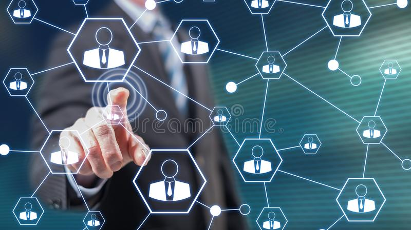 Man touching a social network royalty free stock image