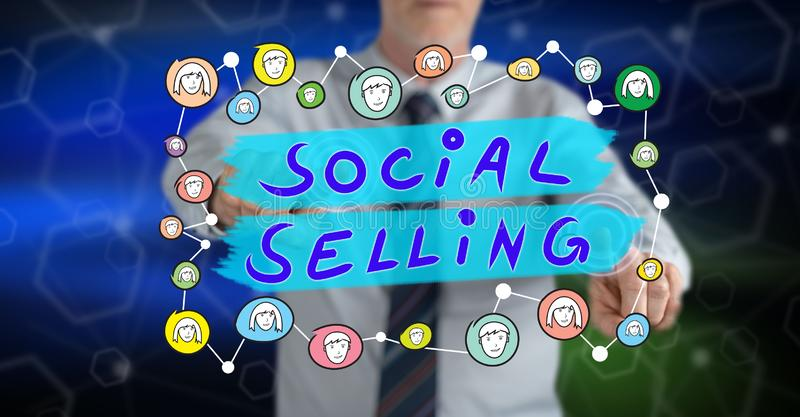 Man touching a social selling concept royalty free stock images