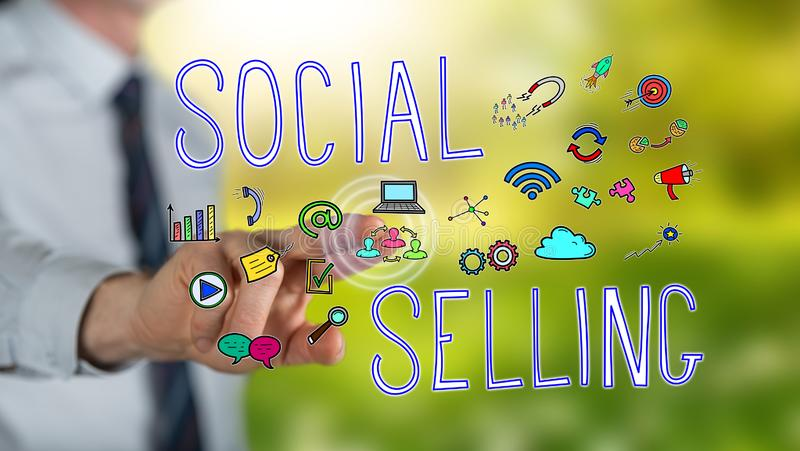 Man touching a social selling concept royalty free illustration