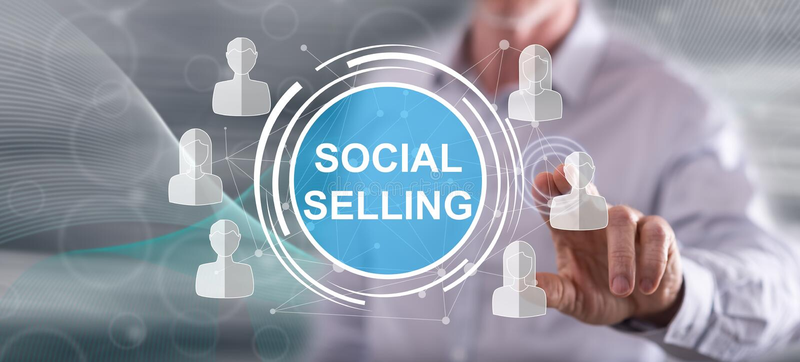 Man touching a social selling concept vector illustration