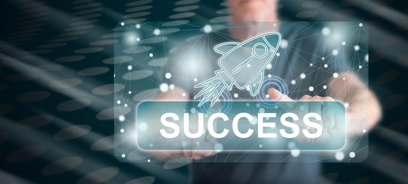 Man touching a success concept stock photo