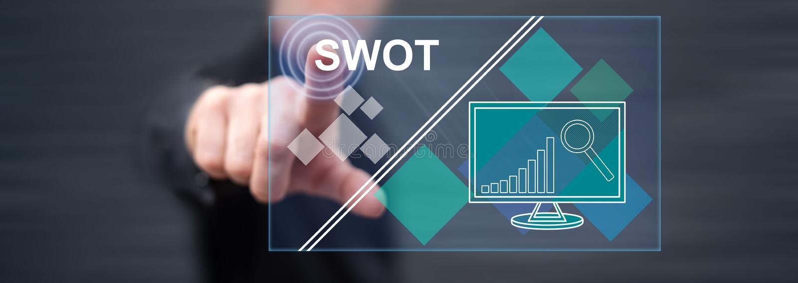 Man touching a swot concept stock image