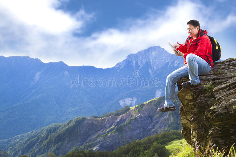 Download Man Touching With Tablet Pc Stock Photo - Image: 25682704