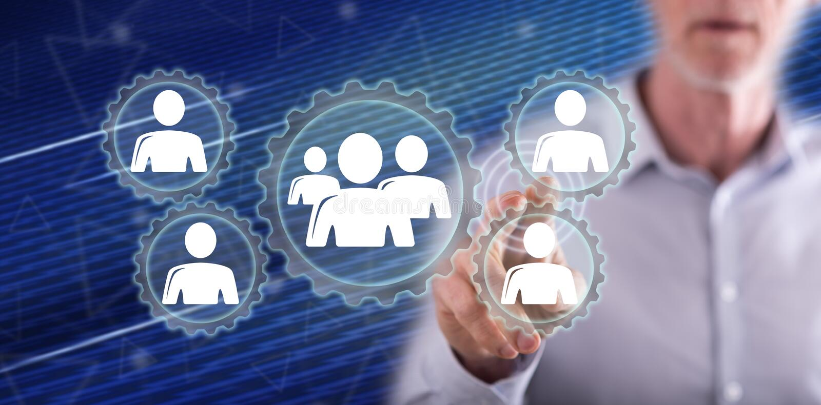 Man touching a team concept. On a touch screen with his finger stock photos
