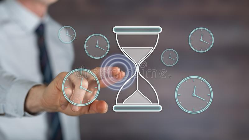 Man touching a time management concept stock photos