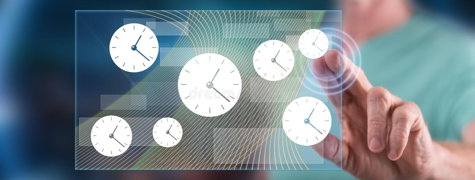 Man touching a time management concept stock illustration