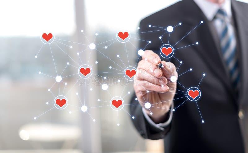 Man touching a virtual social network stock illustration