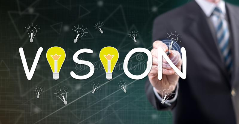 Man touching a vision concept stock images
