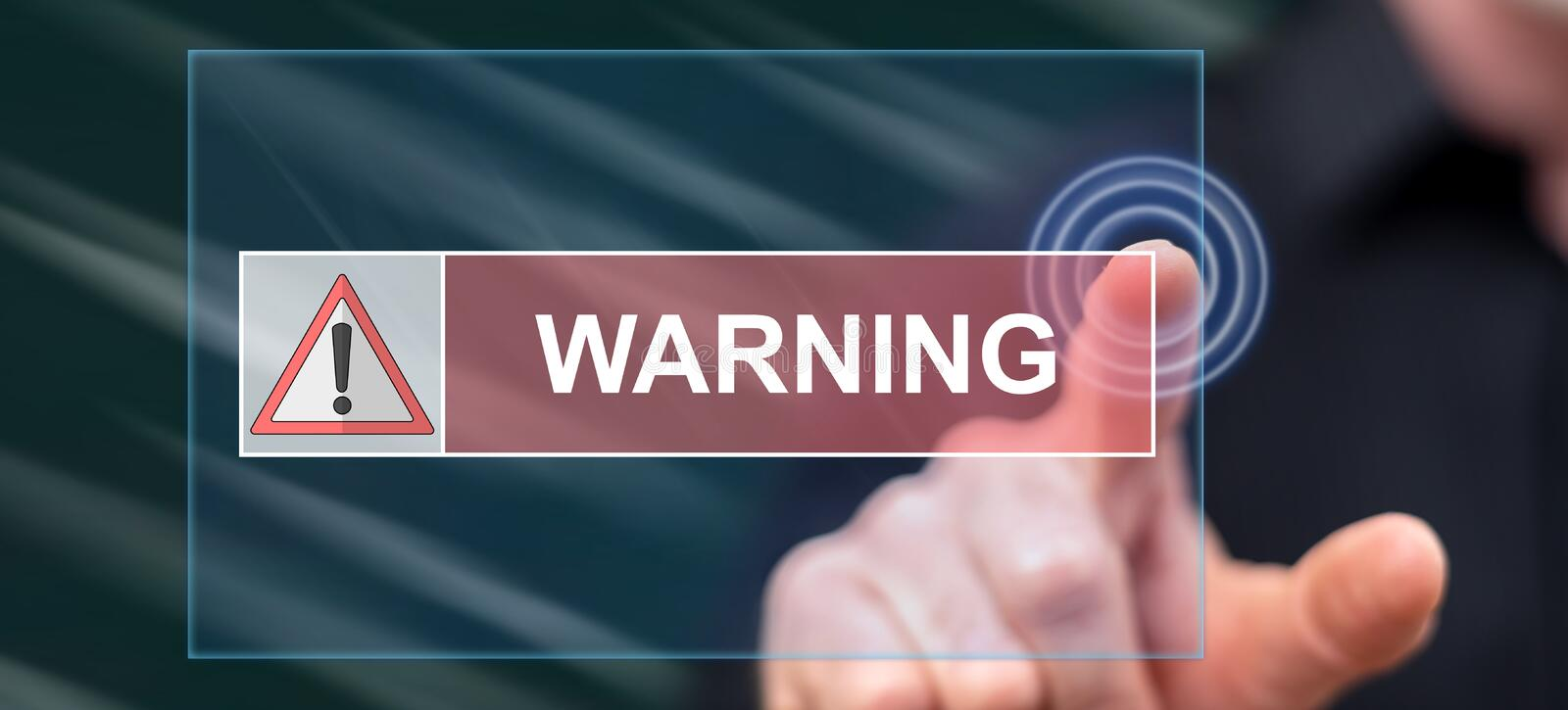 Man touching a warning concept. On a touch screen with his finger royalty free stock photos