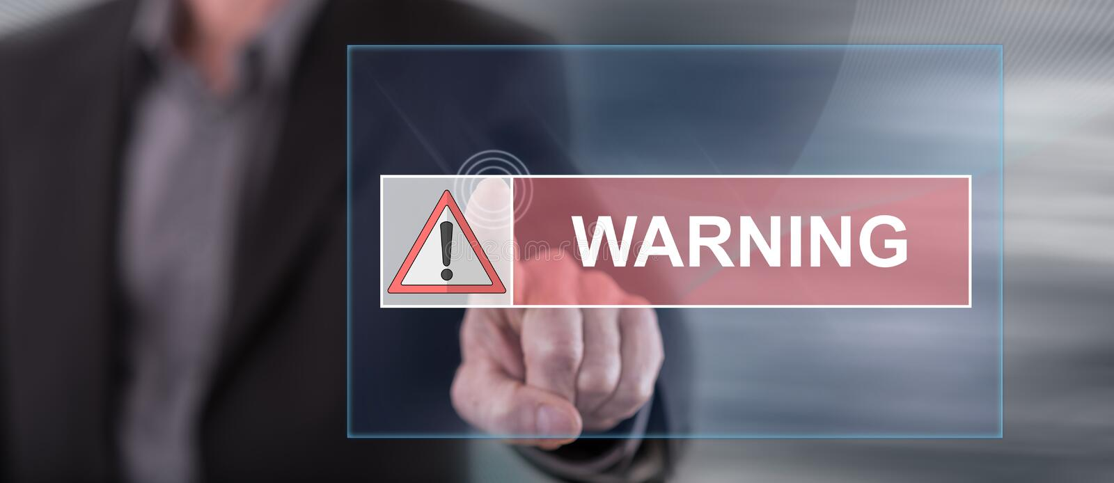 Man touching a warning concept. Man ing a warning concept on a  screen with his finger stock photos