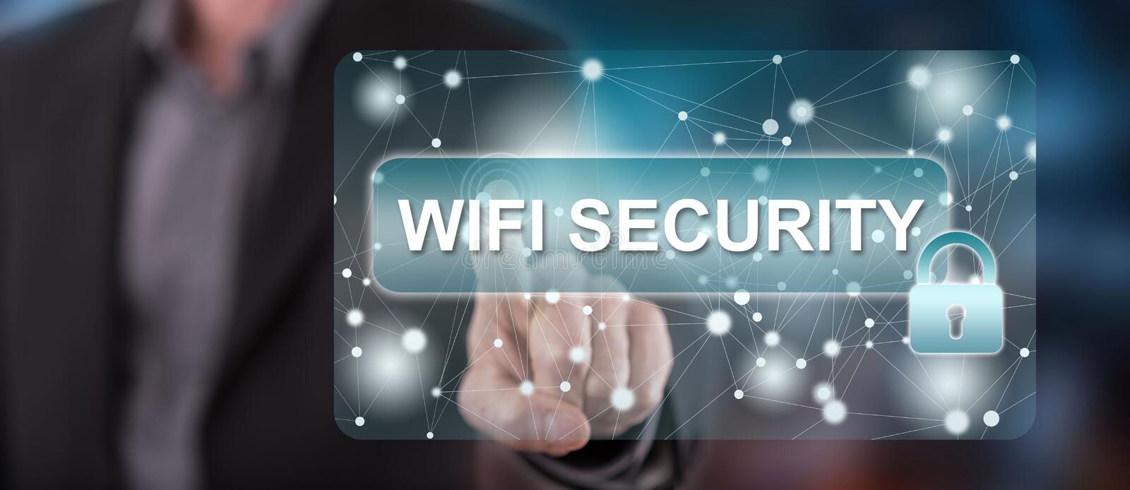 Man touching a wifi security concept. On a touch screen with his finger stock image