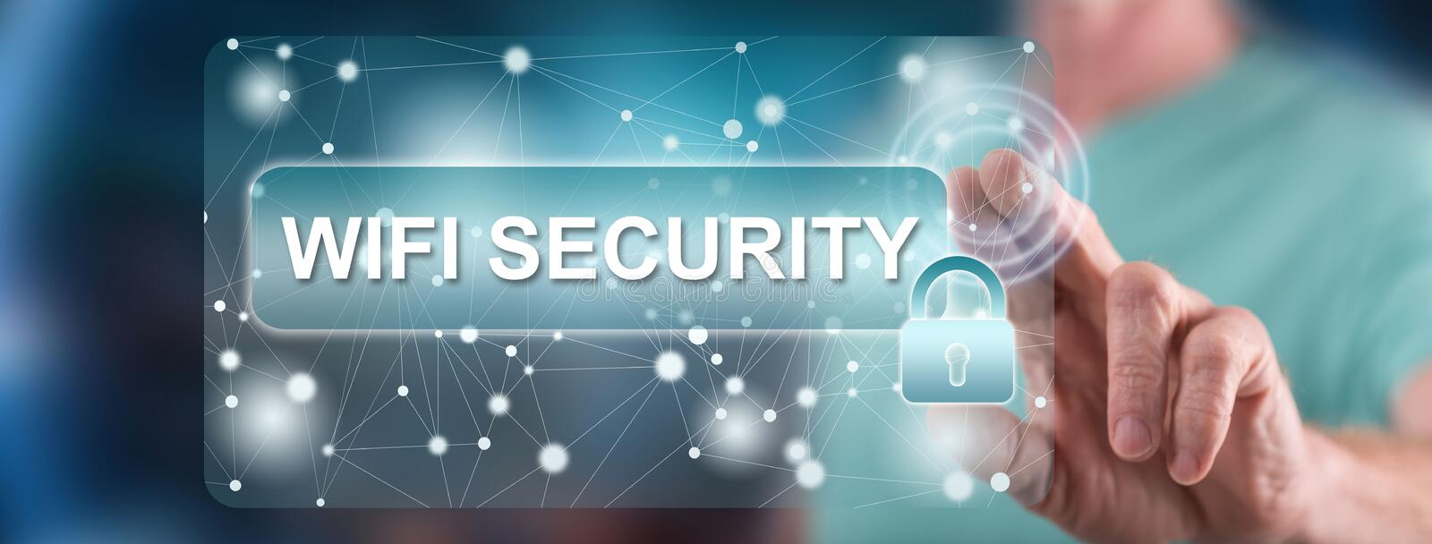 Man touching a wifi security concept. On a touch screen with his finger royalty free stock photo