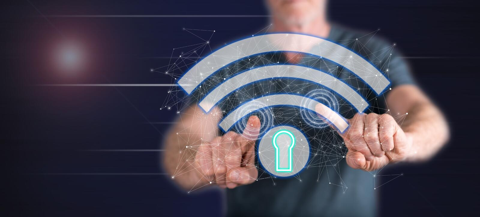 Man touching a wifi security concept royalty free stock photo