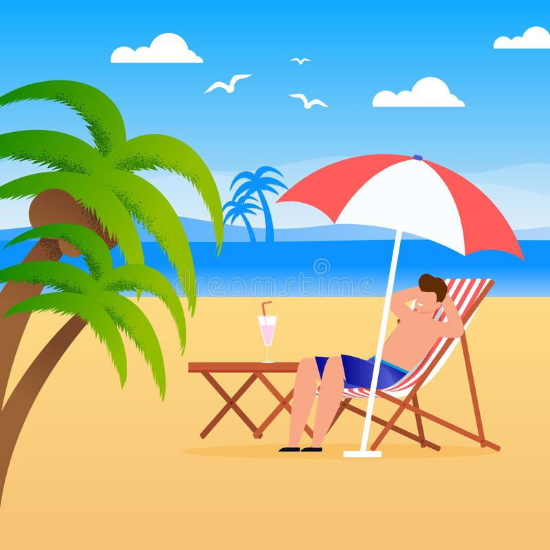 Man Tourist Resting along on Beach Illustration. Man Tourist Relaxing along on Beach Illustration. Vector Cartoon Male Character Sitting on Deck Chair under vector illustration