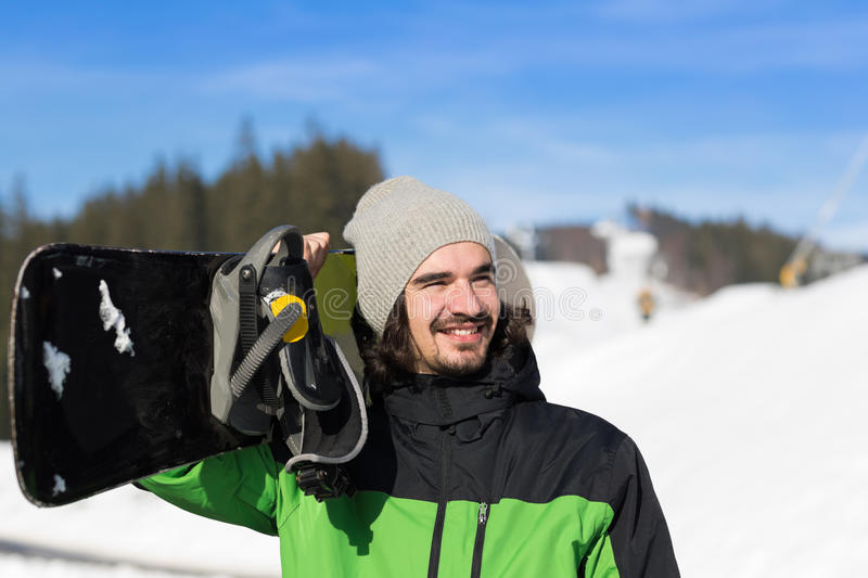 Man Tourist Snowboard Ski Resort Snow Winter Mountain Happy Smiling Guy On Holiday. Extreme Sport Vacation stock photography