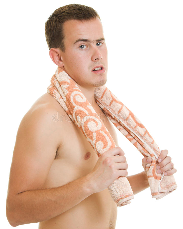 Download A man with a towel stock photo. Image of sport, white - 22569572