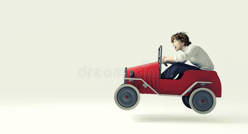 Man in toy car. Man speeding in toy red car on white background royalty free illustration