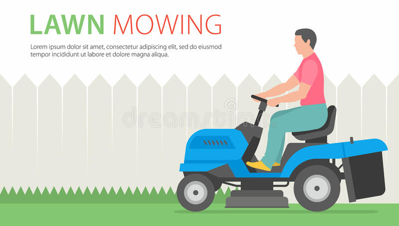 Man on tractor lawnmower. Man mowing the lawn with blue Tractor LawnMower stock illustration