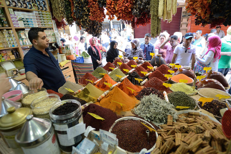 Man trades spices in an Egyptian Bazaar stock photo