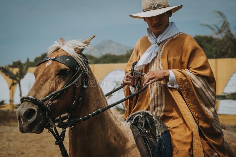 Man in traditional clothes, Trujillo, Peru stock image