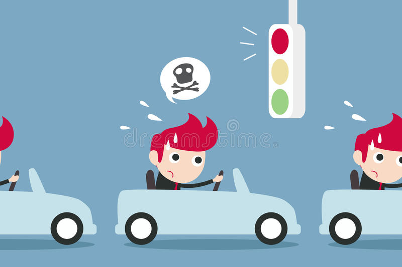Man and traffic jam. Late concept. Vector vector illustration