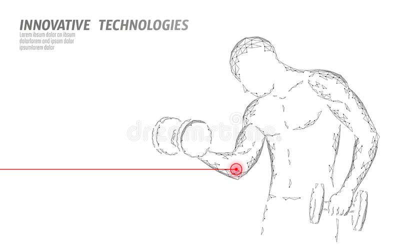 Man training with dumbbell elbow injury. Red painful area polygonal sports medicine abstract concept. Strong vector illustration