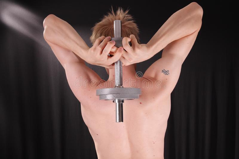 Man training with weight royalty free stock photos