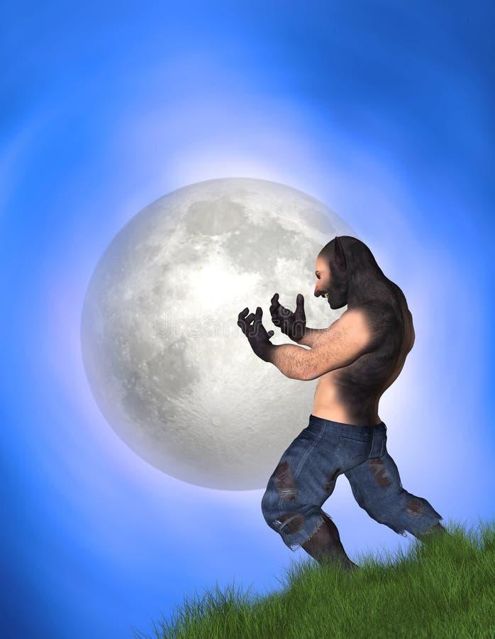 Man Transforming Into Werewolf Big Full Moon Illustration stock photo
