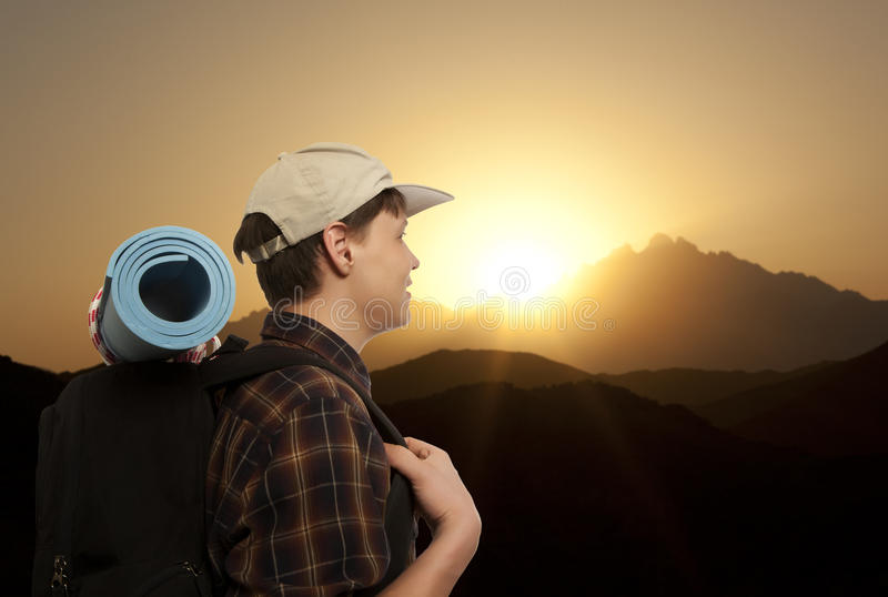 Man with a travel backpack royalty free stock images