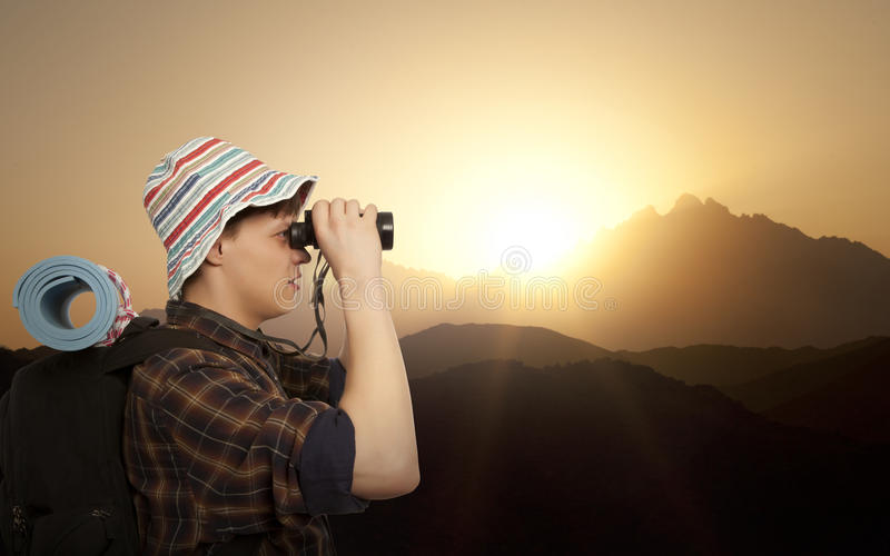 Man with a travel backpack royalty free stock photos