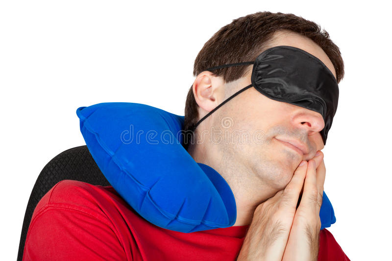 Download Man With Travel Neck Pillow And Sleeping Mask Stock Photo - Image of cushion, orthopedic: 27875756