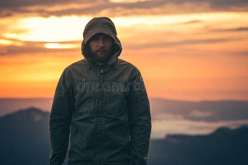 Man Traveler bearded standing alone outdoor stock images