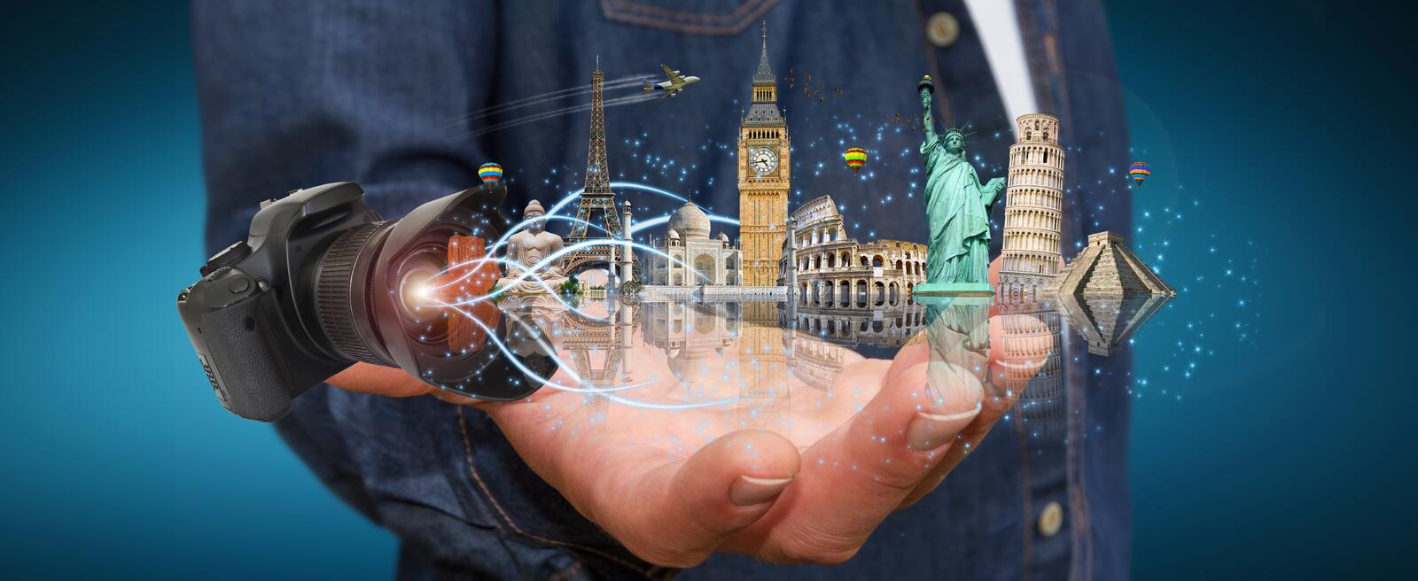 Man traveling the world with his digital camera stock illustration