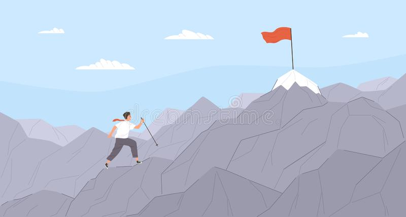 Man travelling through mountain ridge to final destination point. Office worker climbing up cliffs. Concept of business vector illustration