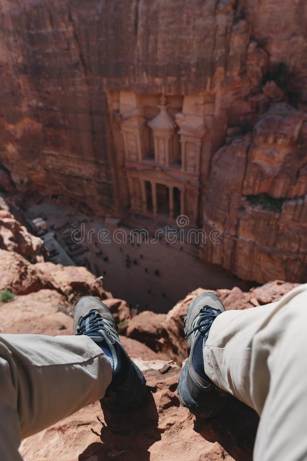 A man travelling at Petra, Jordan. Tourist attraction and travel destination in Jordan, Middle east. A man travelling at Petra, Jordan. Tourist attraction and royalty free stock photography