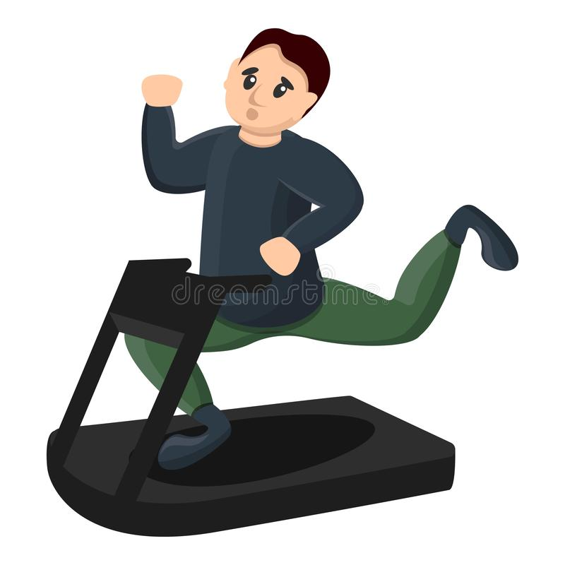 Man at treadmill icon, cartoon style. Man at treadmill icon. Cartoon of man at treadmill vector icon for web design isolated on white background royalty free illustration