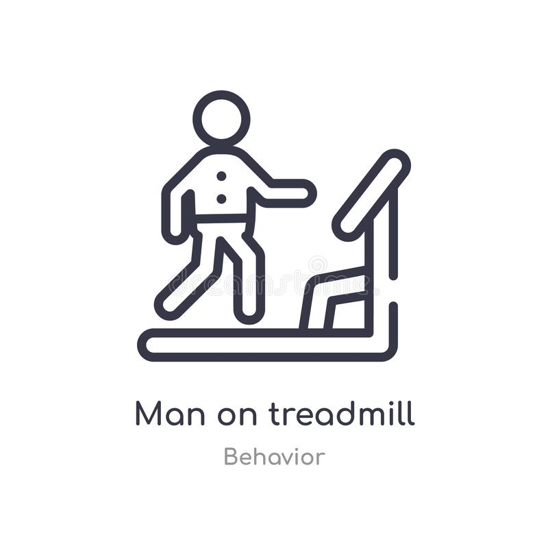 Man on treadmill outline icon. isolated line vector illustration from behavior collection. editable thin stroke man on treadmill. Icon on white background stock illustration