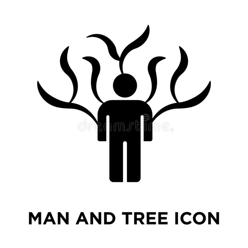 Man and Tree icon vector isolated on white background, logo concept of Man and Tree sign on transparent background, black filled stock illustration