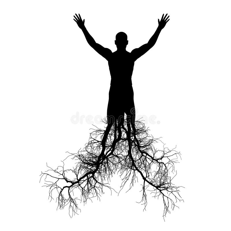 The man with tree roots. It is isolated on a white background royalty free illustration