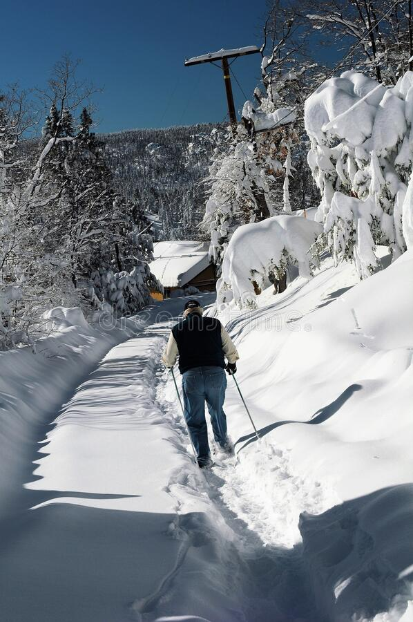 Man Trekking in Neighborhood Snow stock photography