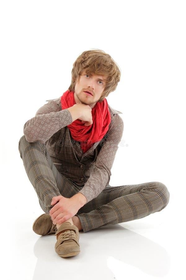 Man trendy handsome on white stock image