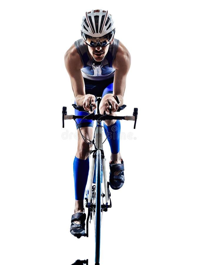 Man triathlon iron man athlete cyclists bicycling royalty free stock photos