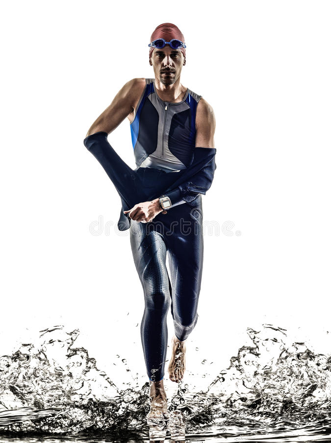 Free Man Triathlon Iron Man Athlete Swimmers Running Royalty Free Stock Photo - 40995505