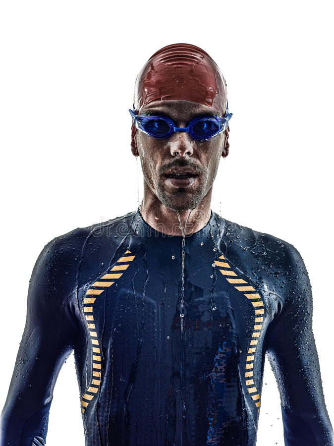 Man triathlon ironman athlete swimmers portrait. In silhouette on white background royalty free stock photos