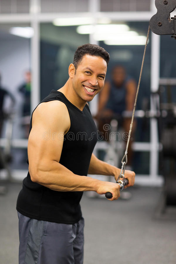 Man triceps pull down royalty free stock photos
