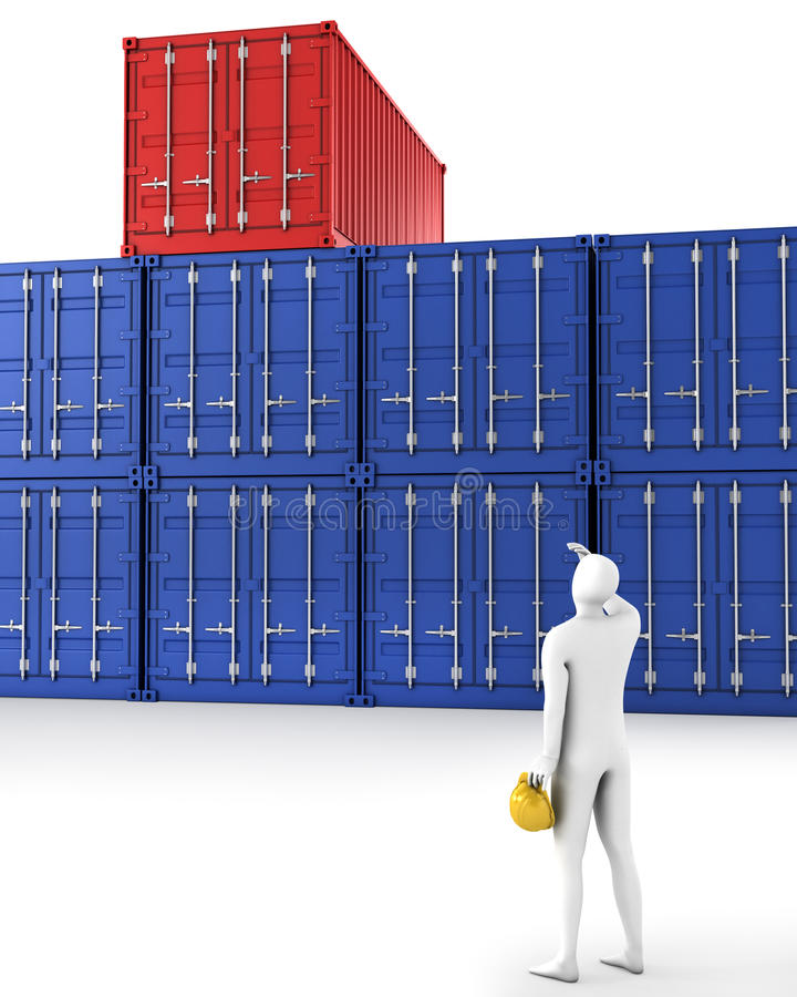 Download Man Tries To Find His Container Stock Illustration - Image: 18772481