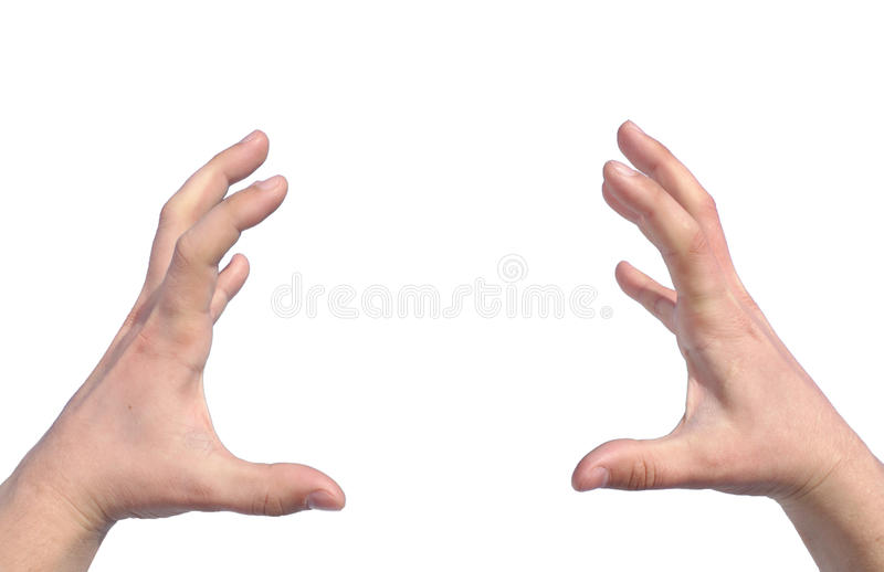 A man tries to greedily grab, isolated stock photography