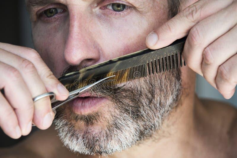 Man trimming his beard stock photo