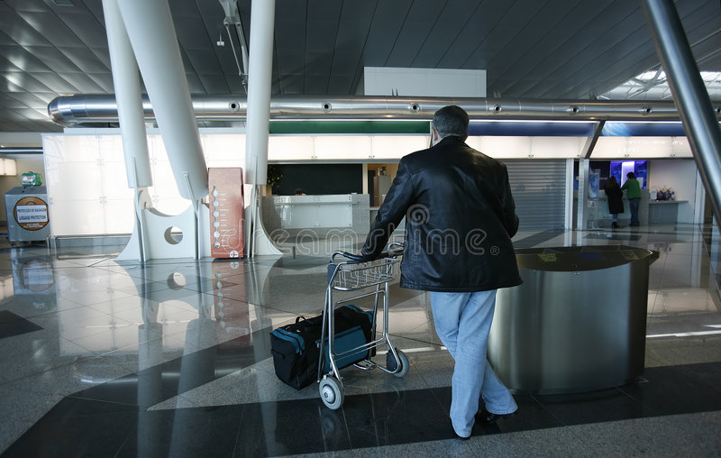 Download Man and trolley stock photo. Image of reflex, pull, plain - 1738388